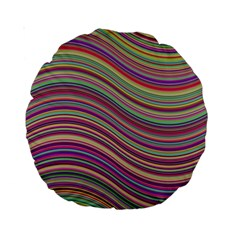Wave Abstract Happy Background Standard 15  Premium Round Cushions