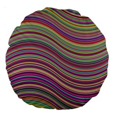 Wave Abstract Happy Background Large 18  Premium Round Cushions