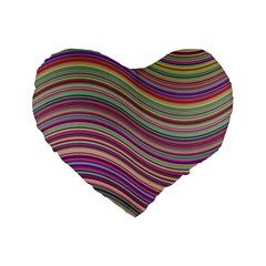Wave Abstract Happy Background Standard 16  Premium Heart Shape Cushions
