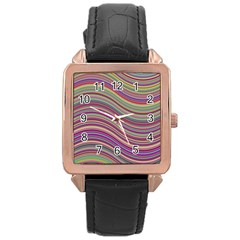Wave Abstract Happy Background Rose Gold Leather Watch