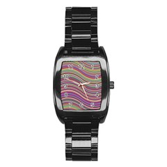 Wave Abstract Happy Background Stainless Steel Barrel Watch