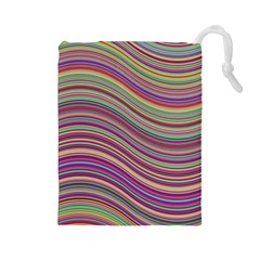 Wave Abstract Happy Background Drawstring Pouches (Large)