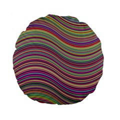 Wave Abstract Happy Background Standard 15  Premium Flano Round Cushions