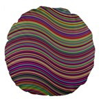 Wave Abstract Happy Background Large 18  Premium Flano Round Cushions Back