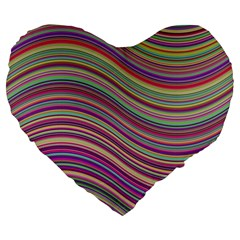 Wave Abstract Happy Background Large 19  Premium Flano Heart Shape Cushions