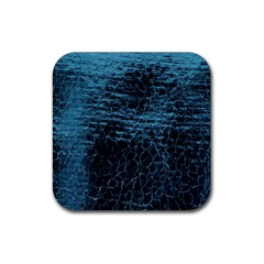 Blue Black Shiny Fabric Pattern Rubber Coaster (square)  by BangZart