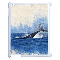 Whale Watercolor Sea Apple Ipad 2 Case (white) by BangZart