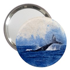 Whale Watercolor Sea 3  Handbag Mirrors by BangZart