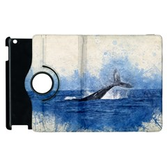 Whale Watercolor Sea Apple Ipad 2 Flip 360 Case by BangZart