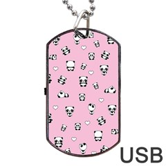 Panda Pattern Dog Tag Usb Flash (one Side) by Valentinaart