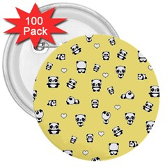 Panda Pattern 3  Buttons (100 Pack)  by Valentinaart