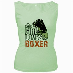 This Girl Loves Her Boxer Women s Green Tank Top