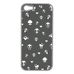 Panda Pattern Apple Iphone 5 Case (silver) by Valentinaart