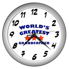 World Greatest Grandfather Wall Clock (silver)