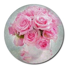 Pink Roses Round Mousepads by 8fugoso
