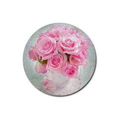 Pink Roses Rubber Coaster (round)  by 8fugoso