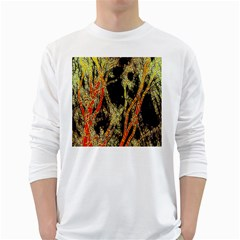 Artistic Effect Fractal Forest Background White Long Sleeve T Shirts by Amaryn4rt