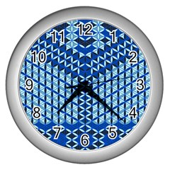 Flower Of Life Pattern Blue Wall Clocks (silver)  by Cveti