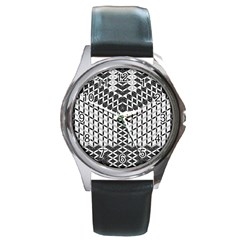 Flower Of Life Grey Round Metal Watch by Cveti