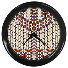 Flower Of Life Pattern Red Blue Wall Clocks (black)