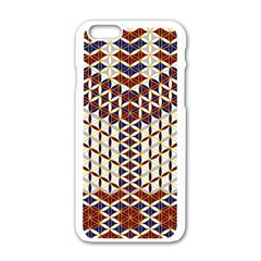 Flower Of Life Pattern Red Blue Apple Iphone 6/6s White Enamel Case by Cveti