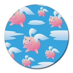 Flying Piggys Pattern Round Mousepads by allthingseveryday