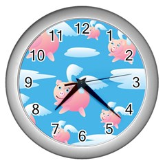 Flying Piggys Pattern Wall Clocks (silver)  by allthingseveryday