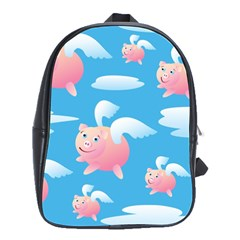 Flying Piggys Pattern School Bag (large) by allthingseveryday