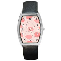 Pigs And Flowers Barrel Style Metal Watch by allthingseveryday