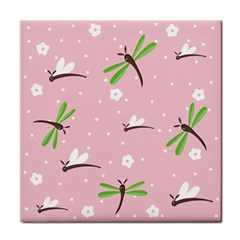 Dragonfly And White Flowers Pattern Face Towel