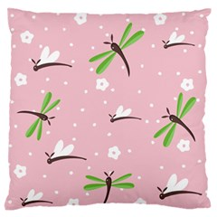 Dragonfly And White Flowers Pattern Large Flano Cushion Case (one Side) by allthingseveryday