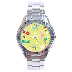 Colorful Dragonflies And White Flowers Pattern Stainless Steel Analogue Watch
