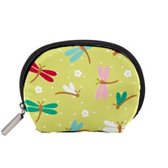 Colorful Dragonflies And White Flowers Pattern Accessory Pouches (small)  by allthingseveryday