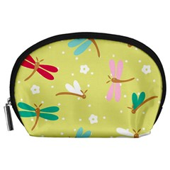 Colorful Dragonflies And White Flowers Pattern Accessory Pouches (large)  by allthingseveryday