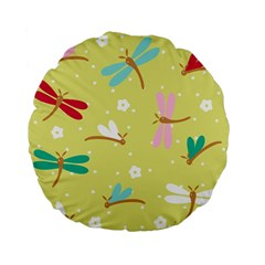 Colorful Dragonflies And White Flowers Pattern Standard 15  Premium Flano Round Cushions by allthingseveryday