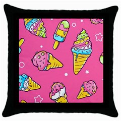 Summer Ice Creams Flavors Pattern Throw Pillow Case (black) by allthingseveryday