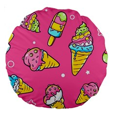 Summer Ice Creams Flavors Pattern Large 18  Premium Round Cushions by allthingseveryday