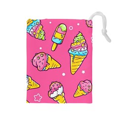 Summer Ice Creams Flavors Pattern Drawstring Pouches (large)  by allthingseveryday