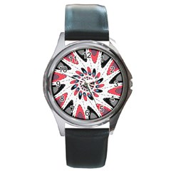 High Contrast Twirl Round Metal Watch by linceazul