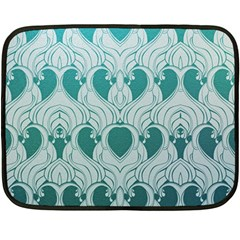 Teal Art Nouvea Fleece Blanket (mini) by 8fugoso