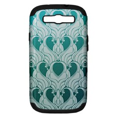 Teal Art Nouvea Samsung Galaxy S Iii Hardshell Case (pc+silicone) by 8fugoso