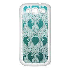 Teal Art Nouvea Samsung Galaxy S3 Back Case (white) by 8fugoso