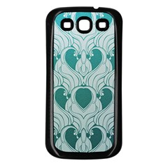 Teal Art Nouvea Samsung Galaxy S3 Back Case (black) by 8fugoso