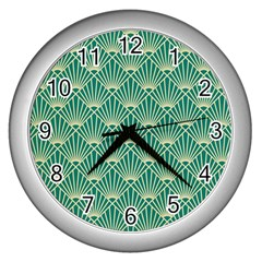 Green Fan  Wall Clocks (silver)  by 8fugoso