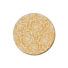 Yellow Peonines Rubber Coaster (round)  by 8fugoso