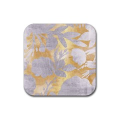 Gold Silver Rubber Square Coaster (4 Pack)  by 8fugoso