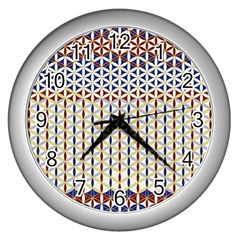 Flower Of Life Pattern 2 Wall Clocks (silver)  by Cveti