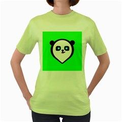 Panda Bear Women s Green T Shirt