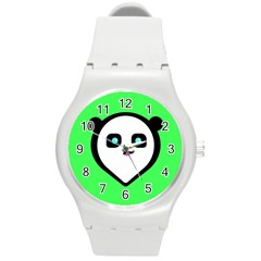 Panda Bear Round Plastic Sport Watch (m) by Celenk