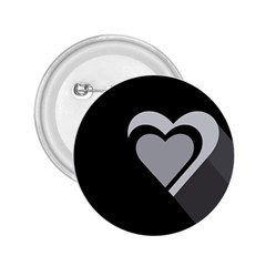 Heart Love Black And White Symbol 2 25  Buttons by Celenk